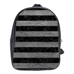 Stripes2 Black Marble & Gray Leather School Bag (large)