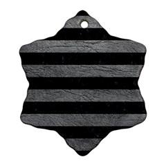 Stripes2 Black Marble & Gray Leather Ornament (snowflake)