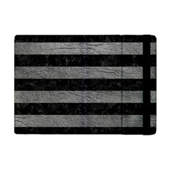 Stripes2 Black Marble & Gray Leather Apple Ipad Mini Flip Case