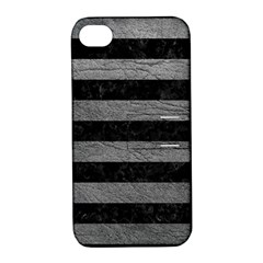 Stripes2 Black Marble & Gray Leather Apple Iphone 4/4s Hardshell Case With Stand