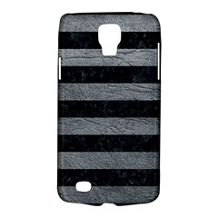 Stripes2 Black Marble & Gray Leather Galaxy S4 Active