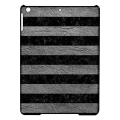 Stripes2 Black Marble & Gray Leather Ipad Air Hardshell Cases