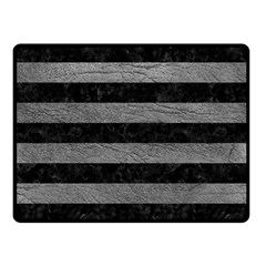 Stripes2 Black Marble & Gray Leather Double Sided Fleece Blanket (small)