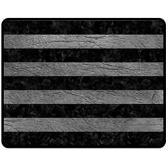 Stripes2 Black Marble & Gray Leather Double Sided Fleece Blanket (medium)