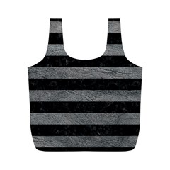 Stripes2 Black Marble & Gray Leather Full Print Recycle Bags (m)