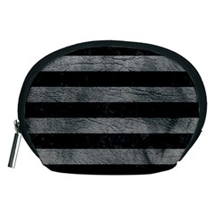 Stripes2 Black Marble & Gray Leather Accessory Pouches (medium)