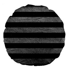 Stripes2 Black Marble & Gray Leather Large 18  Premium Flano Round Cushions