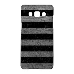 Stripes2 Black Marble & Gray Leather Samsung Galaxy A5 Hardshell Case