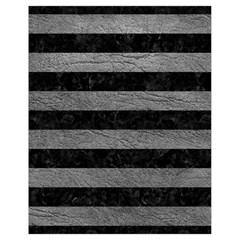 Stripes2 Black Marble & Gray Leather Drawstring Bag (small)