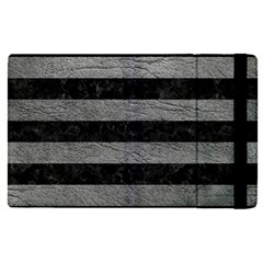 Stripes2 Black Marble & Gray Leather Apple Ipad Pro 12 9   Flip Case