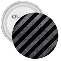 Stripes3 Black Marble & Gray Leather 3  Buttons