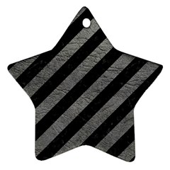 Stripes3 Black Marble & Gray Leather Ornament (star)