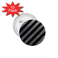 Stripes3 Black Marble & Gray Leather 1 75  Buttons (10 Pack)