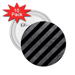 Stripes3 Black Marble & Gray Leather 2 25  Buttons (10 Pack)