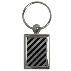 Stripes3 Black Marble & Gray Leather Key Chains (rectangle)
