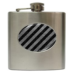 Stripes3 Black Marble & Gray Leather Hip Flask (6 Oz)
