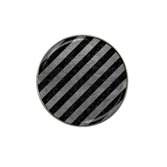 Stripes3 Black Marble & Gray Leather Hat Clip Ball Marker (10 Pack)