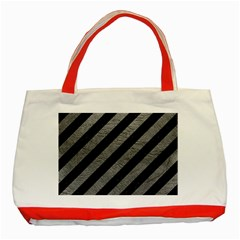 Stripes3 Black Marble & Gray Leather Classic Tote Bag (red)