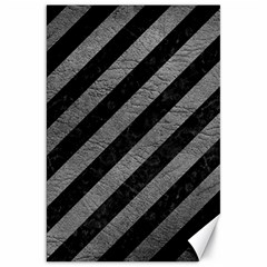 Stripes3 Black Marble & Gray Leather Canvas 20  X 30