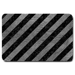 Stripes3 Black Marble & Gray Leather Large Doormat