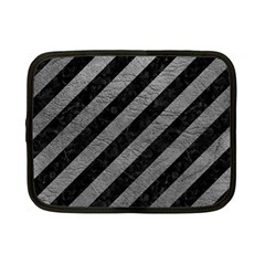Stripes3 Black Marble & Gray Leather Netbook Case (small)