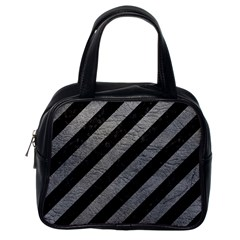 Stripes3 Black Marble & Gray Leather Classic Handbags (one Side)