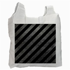 Stripes3 Black Marble & Gray Leather Recycle Bag (two Side)