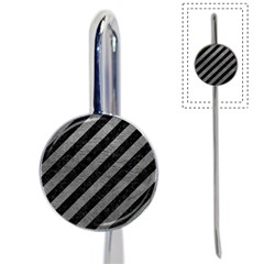 Stripes3 Black Marble & Gray Leather Book Mark