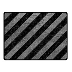 Stripes3 Black Marble & Gray Leather Fleece Blanket (small)