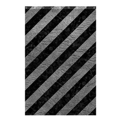 Stripes3 Black Marble & Gray Leather Shower Curtain 48  X 72  (small)