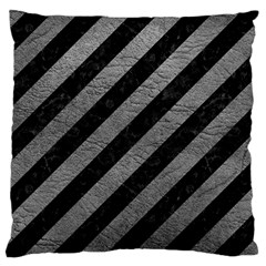 Stripes3 Black Marble & Gray Leather Large Cushion Case (two Sides)