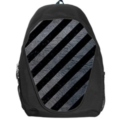 Stripes3 Black Marble & Gray Leather Backpack Bag