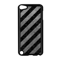 Stripes3 Black Marble & Gray Leather Apple Ipod Touch 5 Case (black)
