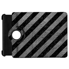 Stripes3 Black Marble & Gray Leather Kindle Fire Hd 7