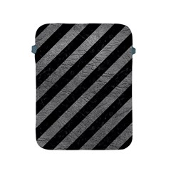 Stripes3 Black Marble & Gray Leather Apple Ipad 2/3/4 Protective Soft Cases