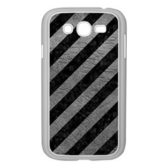 Stripes3 Black Marble & Gray Leather Samsung Galaxy Grand Duos I9082 Case (white)