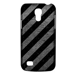 Stripes3 Black Marble & Gray Leather Galaxy S4 Mini