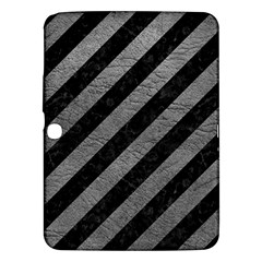 Stripes3 Black Marble & Gray Leather Samsung Galaxy Tab 3 (10 1 ) P5200 Hardshell Case