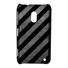 Stripes3 Black Marble & Gray Leather Nokia Lumia 620