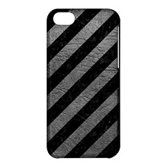 Stripes3 Black Marble & Gray Leather Apple Iphone 5c Hardshell Case