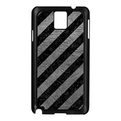 Stripes3 Black Marble & Gray Leather Samsung Galaxy Note 3 N9005 Case (black)
