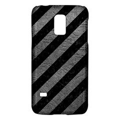 Stripes3 Black Marble & Gray Leather Galaxy S5 Mini