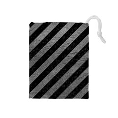 Stripes3 Black Marble & Gray Leather Drawstring Pouches (medium)