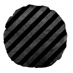 Stripes3 Black Marble & Gray Leather Large 18  Premium Flano Round Cushions