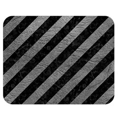 Stripes3 Black Marble & Gray Leather Double Sided Flano Blanket (medium)