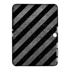 Stripes3 Black Marble & Gray Leather Samsung Galaxy Tab 4 (10 1 ) Hardshell Case
