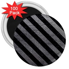 Stripes3 Black Marble & Gray Leather (r) 3  Magnets (100 Pack)