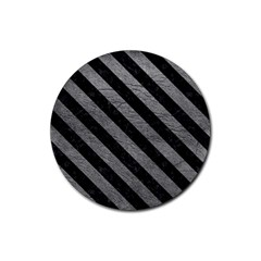 Stripes3 Black Marble & Gray Leather (r) Rubber Coaster (round)