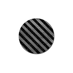 Stripes3 Black Marble & Gray Leather (r) Golf Ball Marker