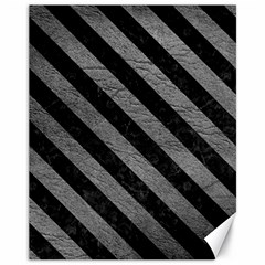 Stripes3 Black Marble & Gray Leather (r) Canvas 11  X 14